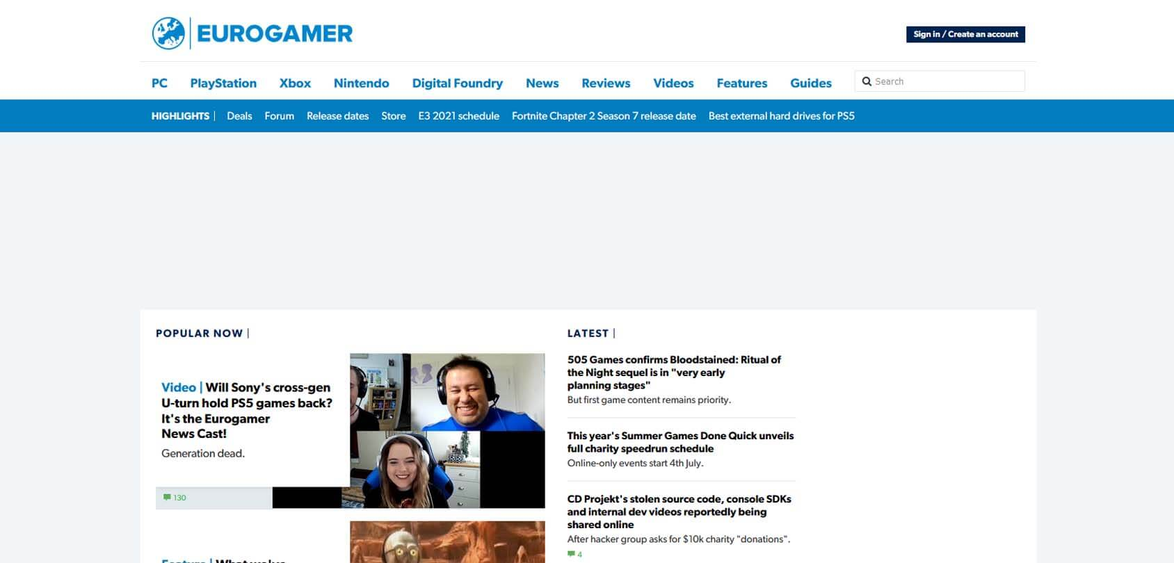 Euro Gamer Homepage