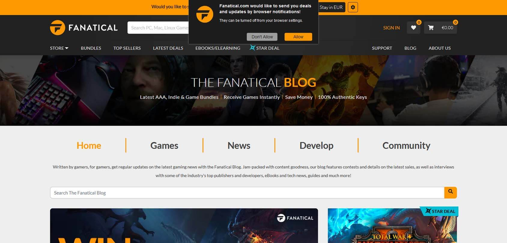 Fanatical Blog Homepage