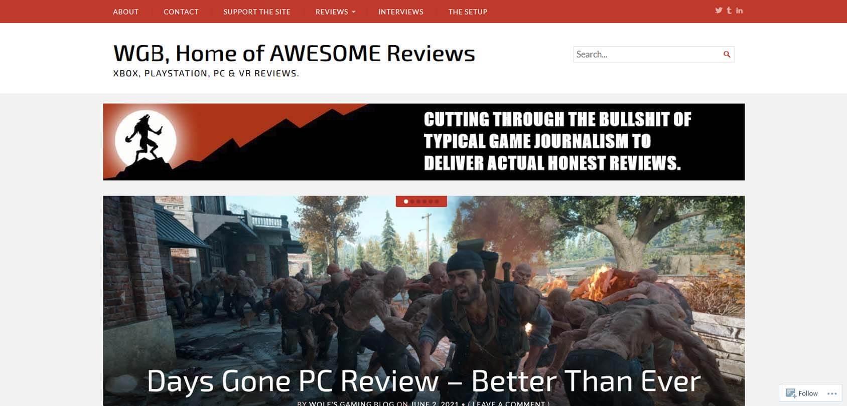 Wolf's Gaming Blog Homepage