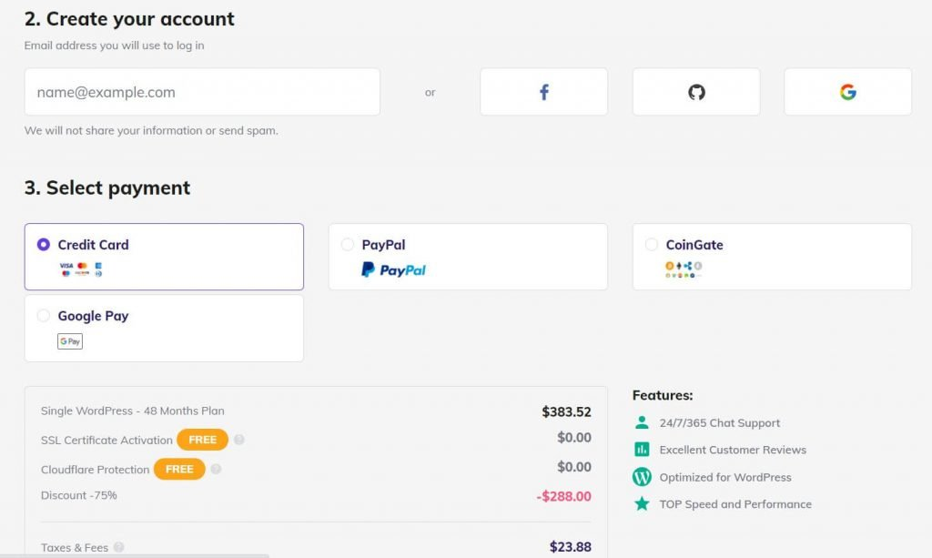 hostinger payment and account