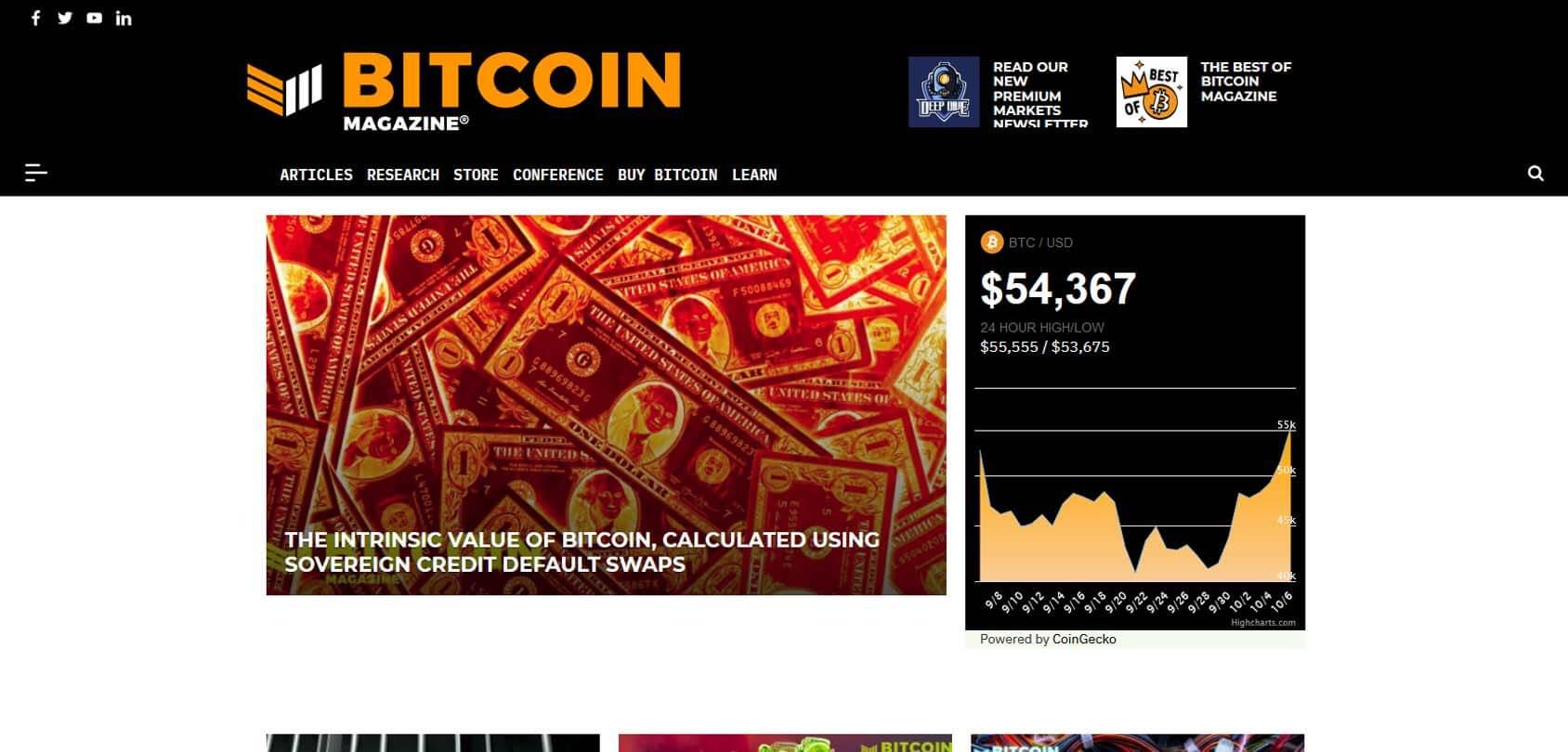 Bitcoin Magazine Homepage