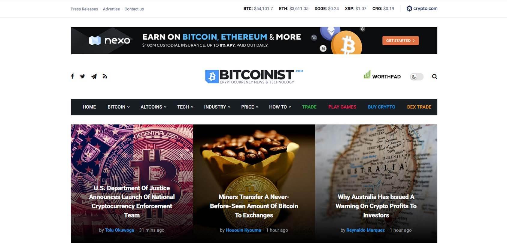 Bitcoinist Homepage