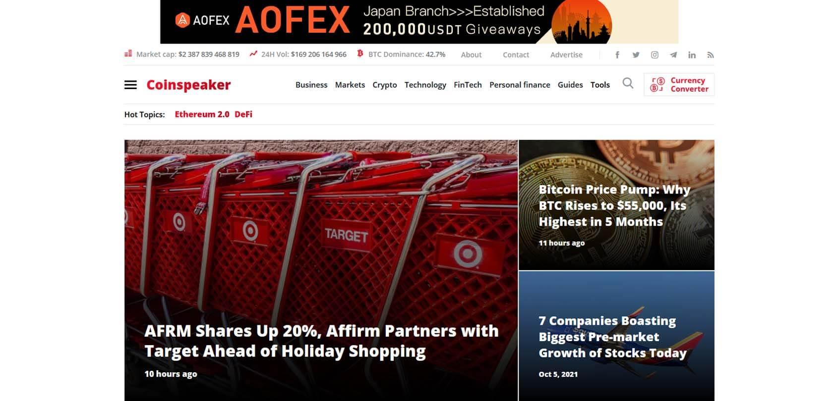 CoinSpeaker Homepage