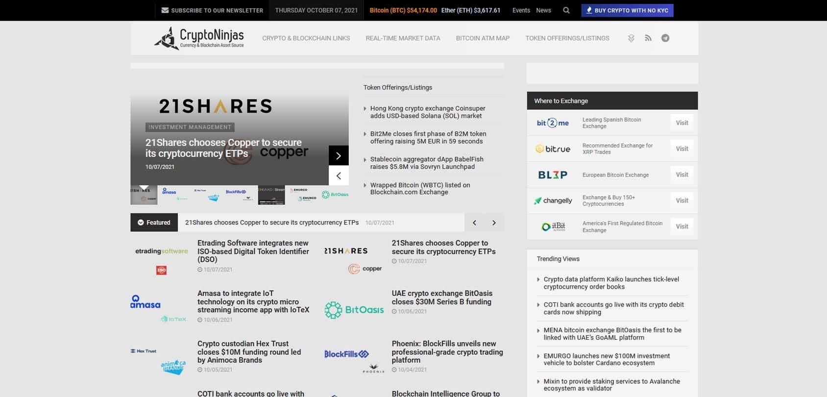 CryptoNinjas Homepage