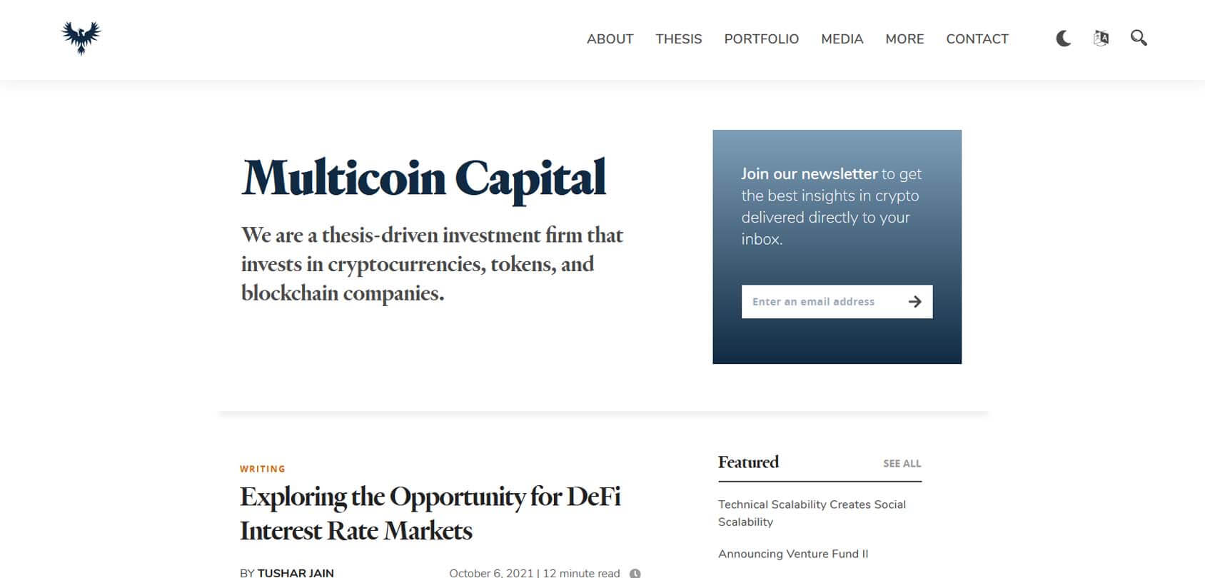 Multicoin Capital Homepage
