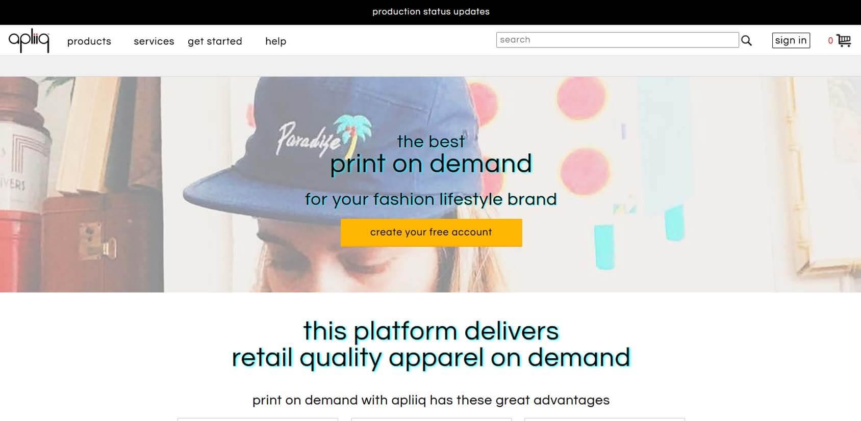 Apliiq Print On Demand Homepage