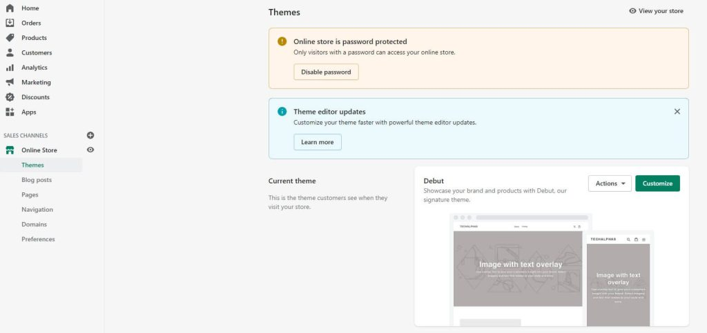 shopify password